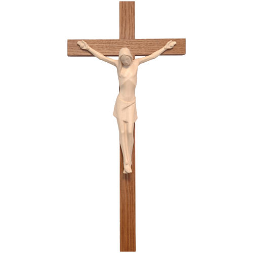 Stylised crucifix in Valgardena wood, natural wax 1