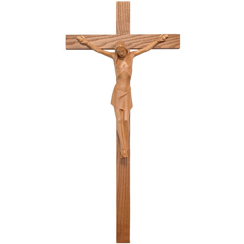 Crocifisso stilizzato legno Valgardena patinato 1