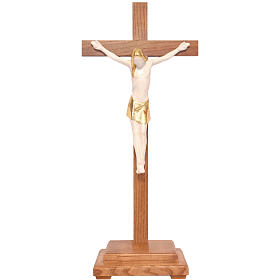 Crucifijo de mesa estilizado madera Valgardena Antiguo Gold s1