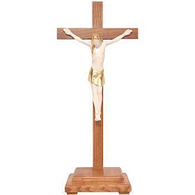 Crocifisso tavolo stilizzato legno Valgardena Antico Gold s1