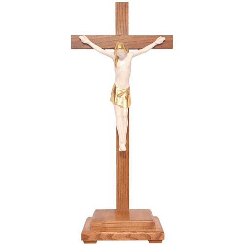 Crocifisso tavolo stilizzato legno Valgardena Antico Gold 1
