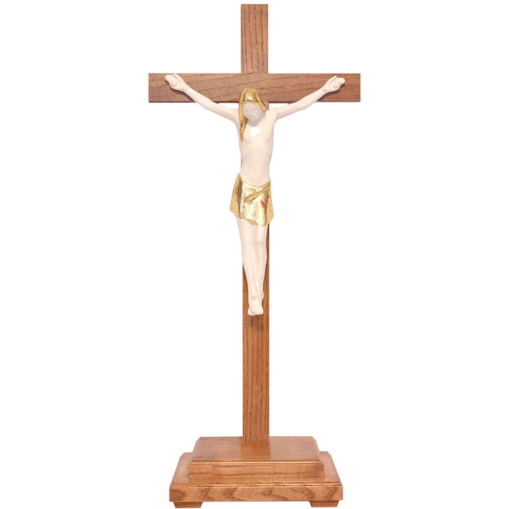 Stylised crucifix with base in Valgardena wood, antique gold 4