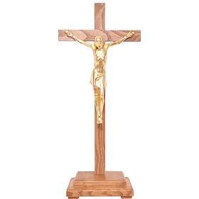 Crocifisso tavolo stilizzato legno Valgardena Gold s1