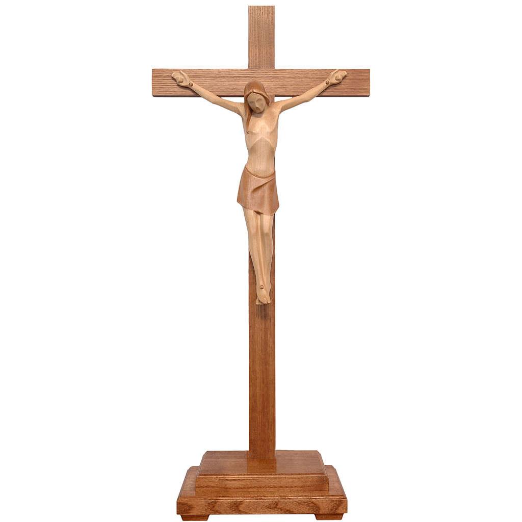 Crocifisso tavolo stilizzato legno Valgardena multipatinato 4