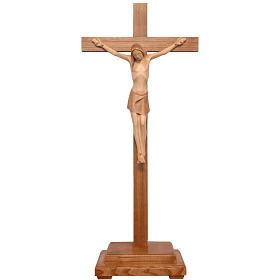 Crocifisso tavolo stilizzato legno Valgardena multipatinato s1