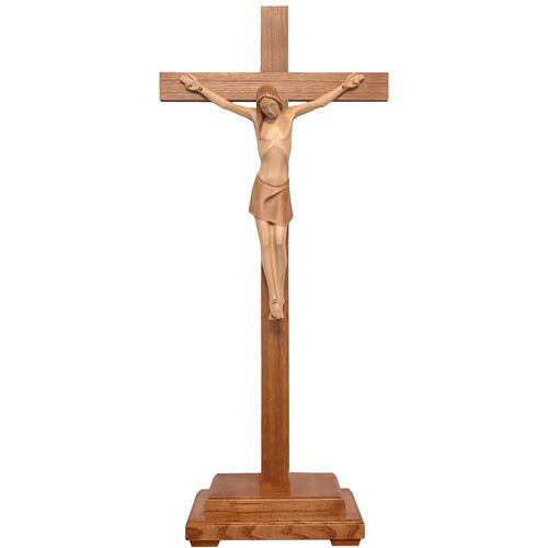 Crocifisso tavolo stilizzato legno Valgardena multipatinato 1