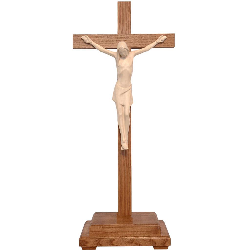 Crocifisso tavolo stilizzato legno Valgardena naturale cerato 4