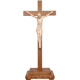Crocifisso tavolo stilizzato legno Valgardena naturale cerato s1