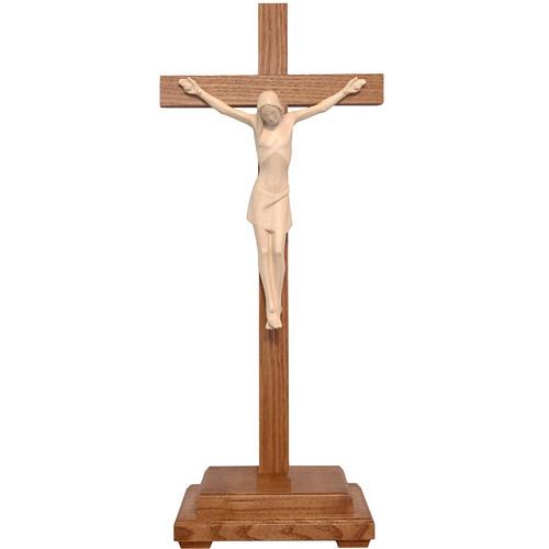 Crocifisso tavolo stilizzato legno Valgardena naturale cerato 1