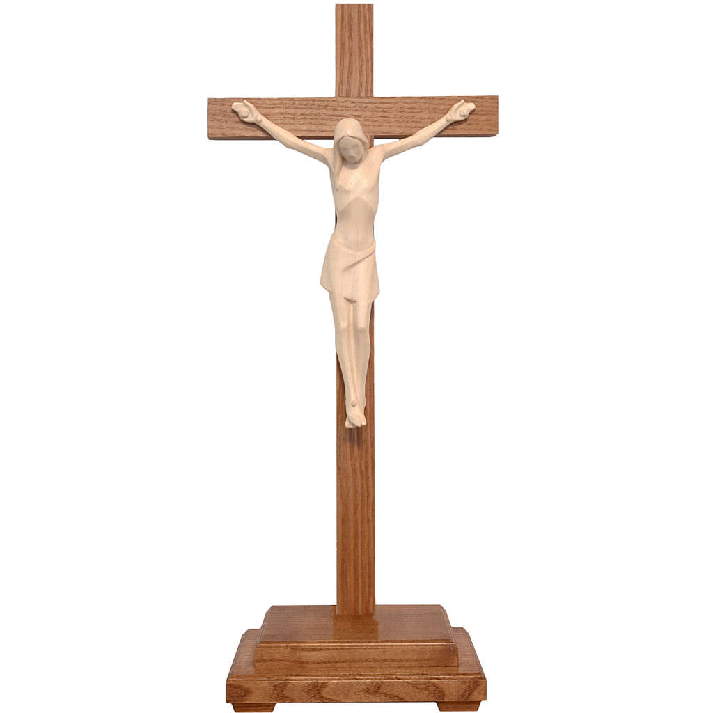 Stylised crucifix with base in Valgardena wood, natural wax 4