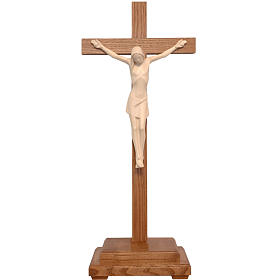 Stylised crucifix with base in Valgardena wood, natural wax s1