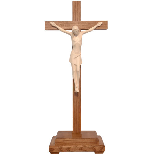 Stylised crucifix with base in Valgardena wood, natural wax 1