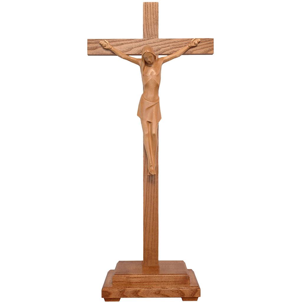 Crucifix stylisé à poser bois patiné  Valgardena 4