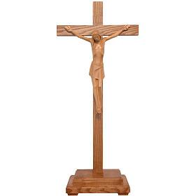 Crucifix stylisé à poser bois patiné  Valgardena s1
