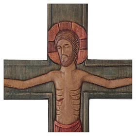 Cristo Cruz Madera Relieve pintada Paño rojo s2