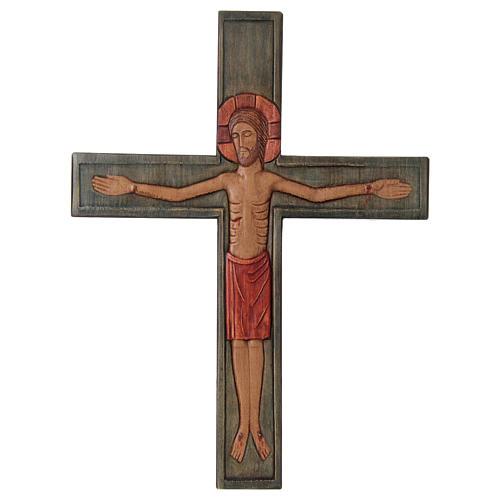 Cristo Cruz Madera Relieve pintada Paño rojo 1
