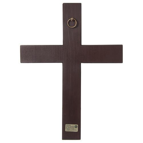Cristo Cruz Madera Relieve pintada Paño rojo 4