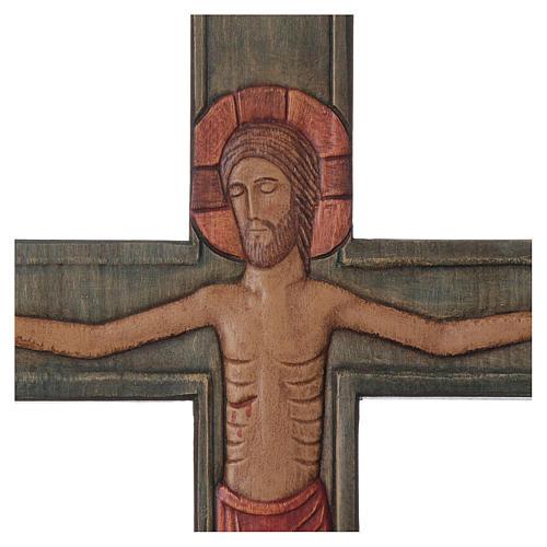Cristo in croce legno rilievo dipinto veste rossa 2
