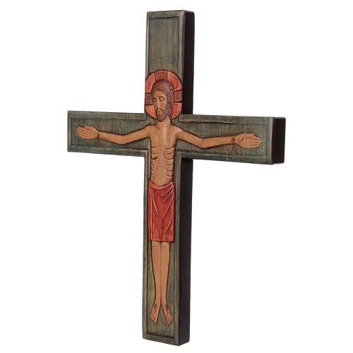 Cristo in croce legno rilievo dipinto veste rossa 3