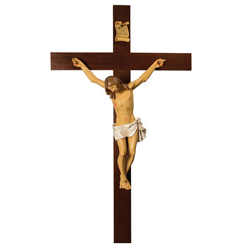 Crucifixo 200 cm Cruz Madeira, Corpo de Cristo Resina Fontanini 1