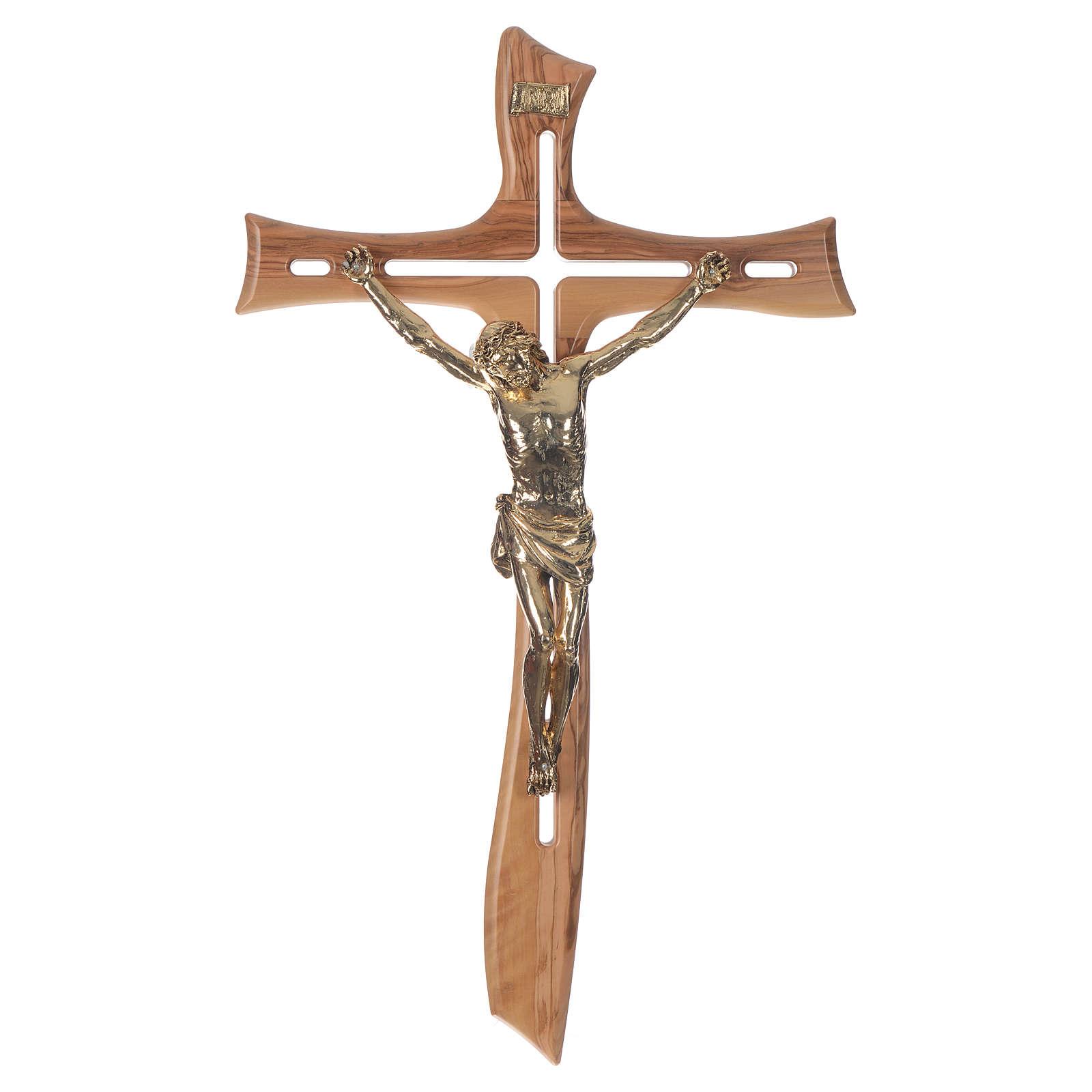 Croce ulivo Cristo resina oro 65 cm 4