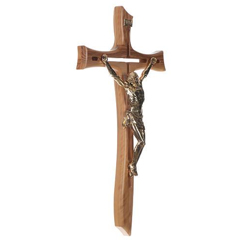 Croce ulivo Cristo resina oro 65 cm 2