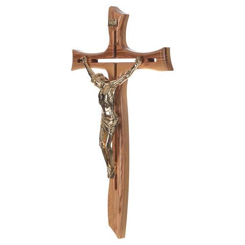 Croce ulivo Cristo resina oro 65 cm 3