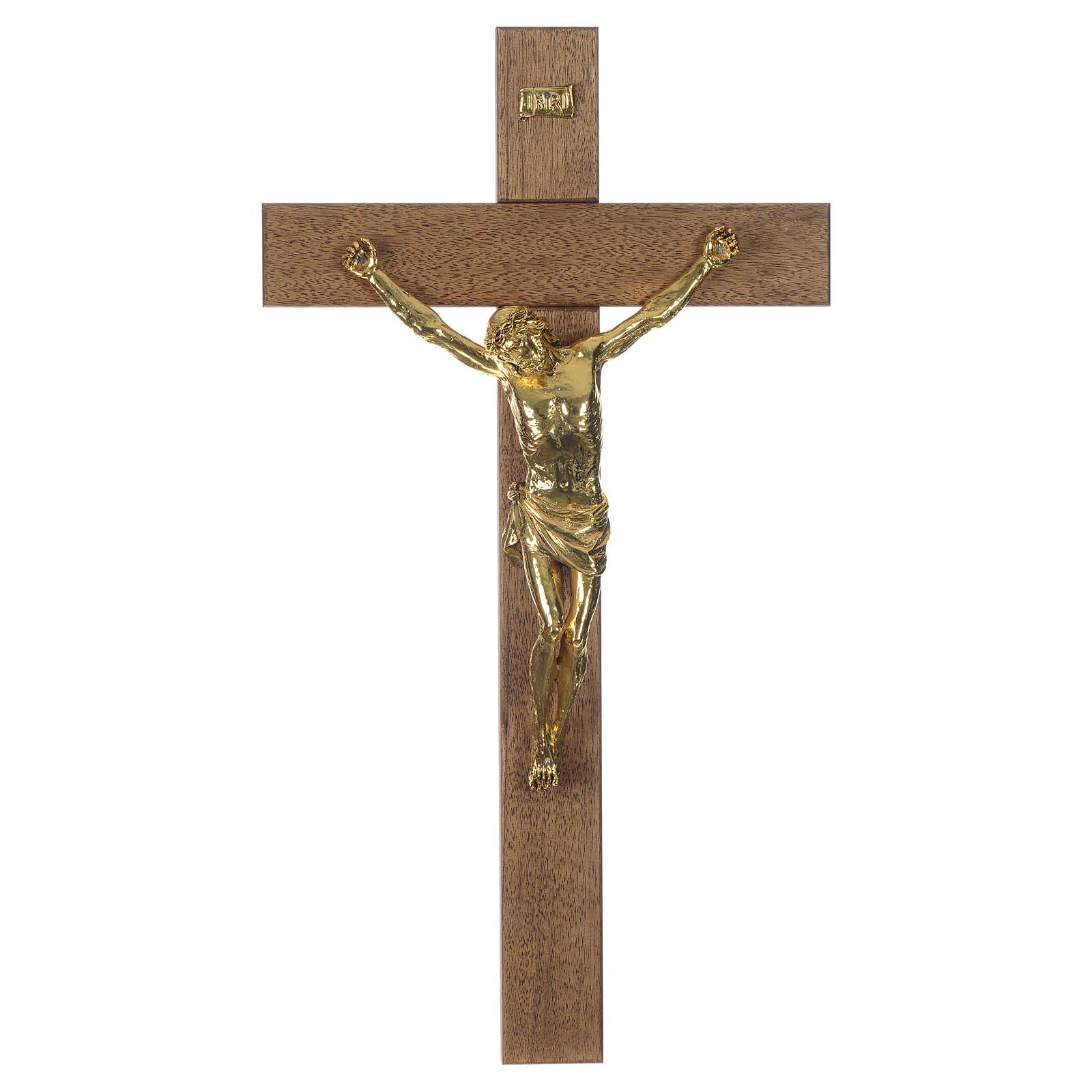 Croix noyer foncé Christ résine or 65 cm 4