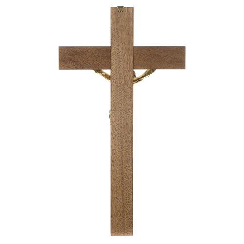 Croce noce scuro Cristo resina oro 65 cm 4