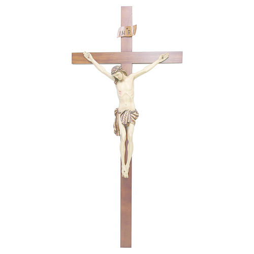 Crucifix bois noyer Christ peint 1
