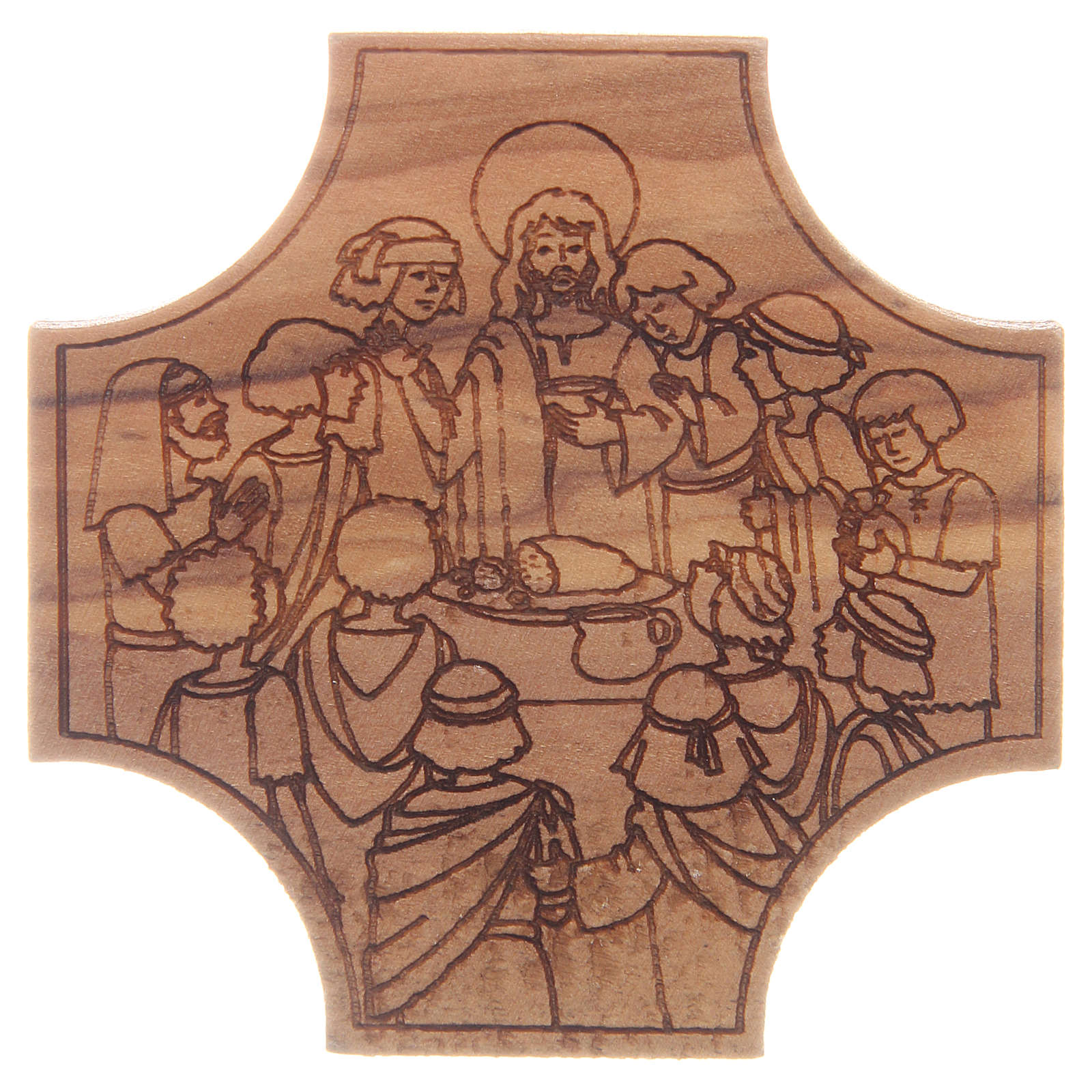 STOCK Cross in olive wood Last Supper engraving 6x6cm 4