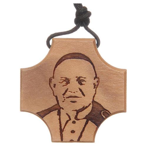 STOCK Croce in ulivo con incisione Papa Giovanni XXIII 1