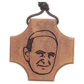 Pendenti croce legno: STOCK Croce ulivo incisione Paolo VI