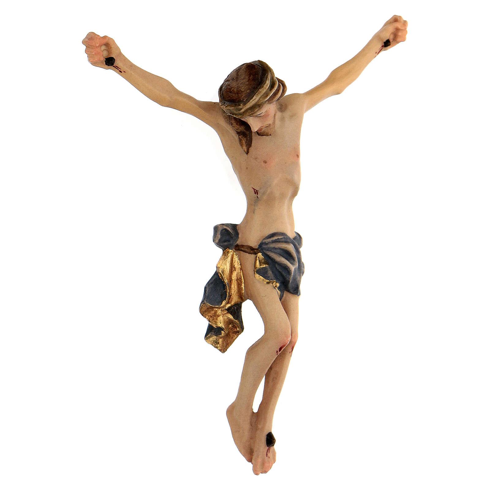 Corpo di Cristo legno dipinto drappo blu 4