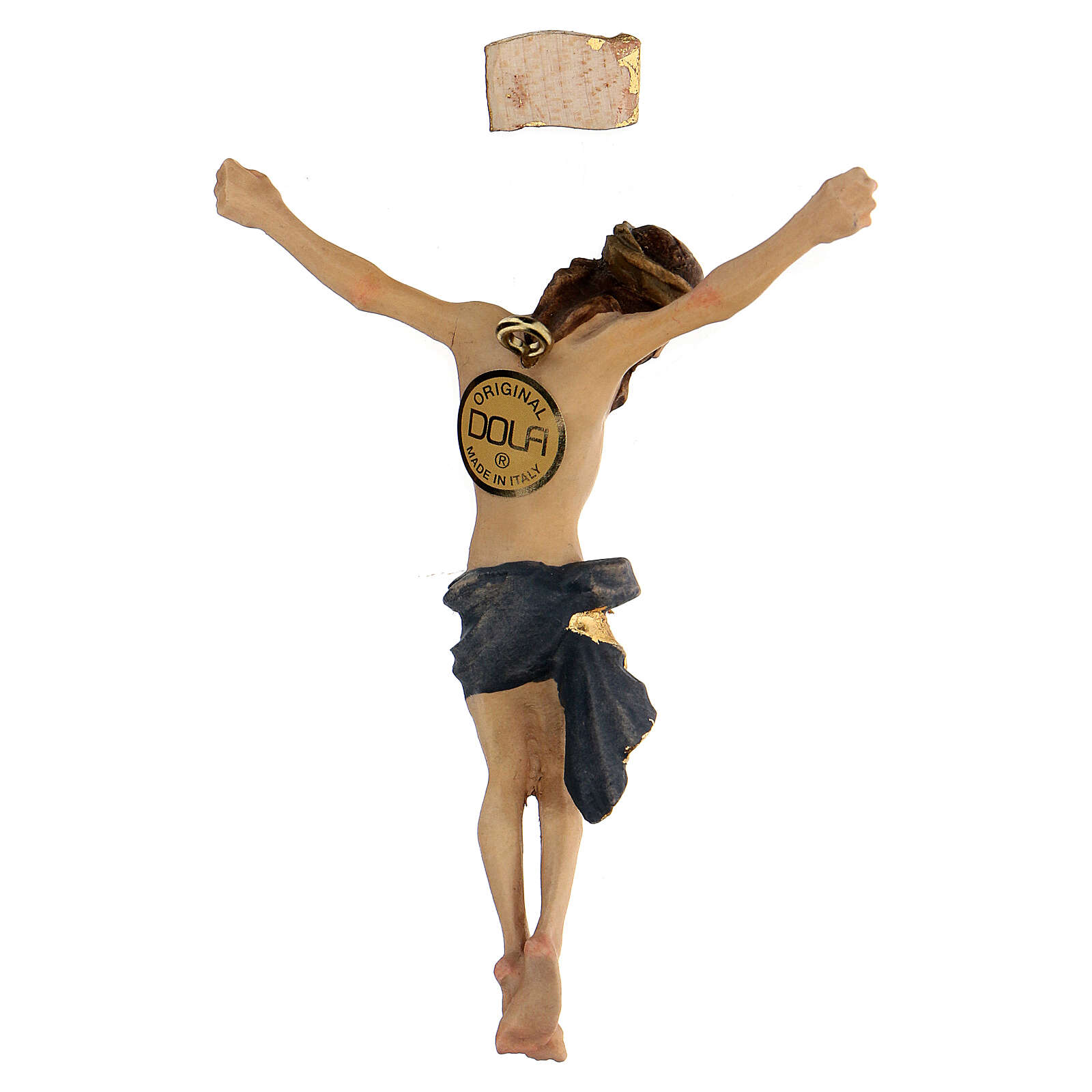 Body of Christ painted wood, blue drape 4