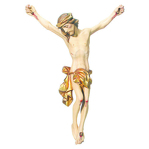 Body of Christ painted wood, gold foil drape 1