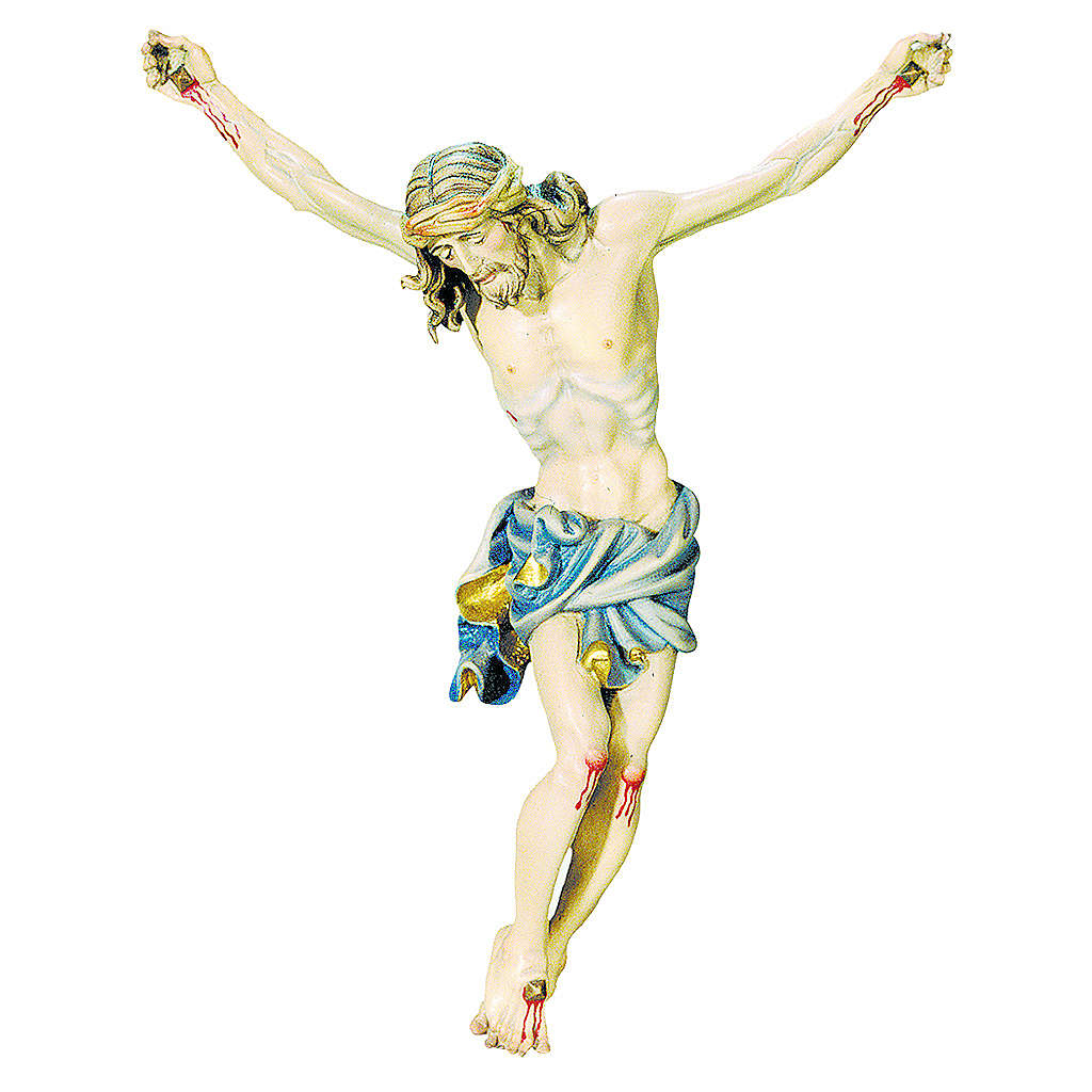 Body of Christ painted wood, gold and blue shades drape 4