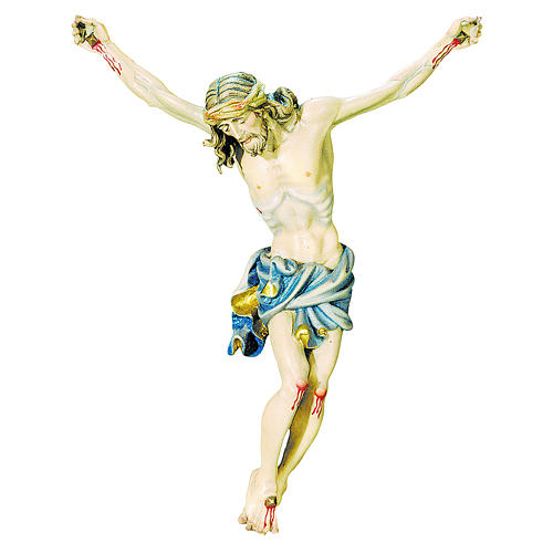 Body of Christ painted wood, gold and blue shades drape 1