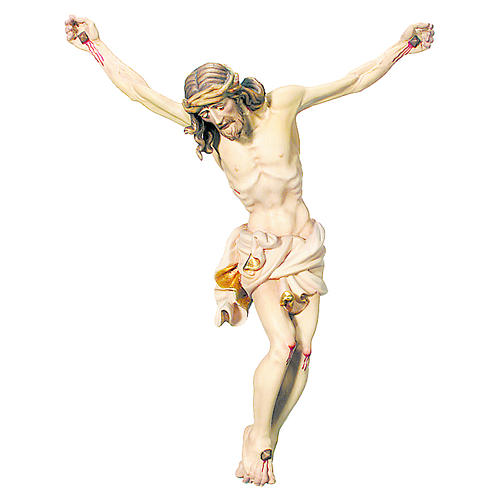 Body of Christ painted wood, white and gold drape 1