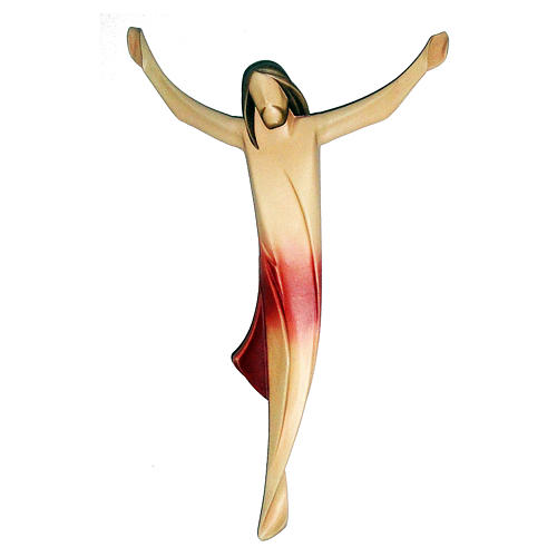 Body of Christ modern, maple wood and red drape 1