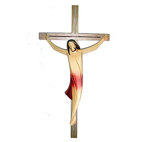 Corpo di Cristo moderno drappo rosso croce legno frassino 1
