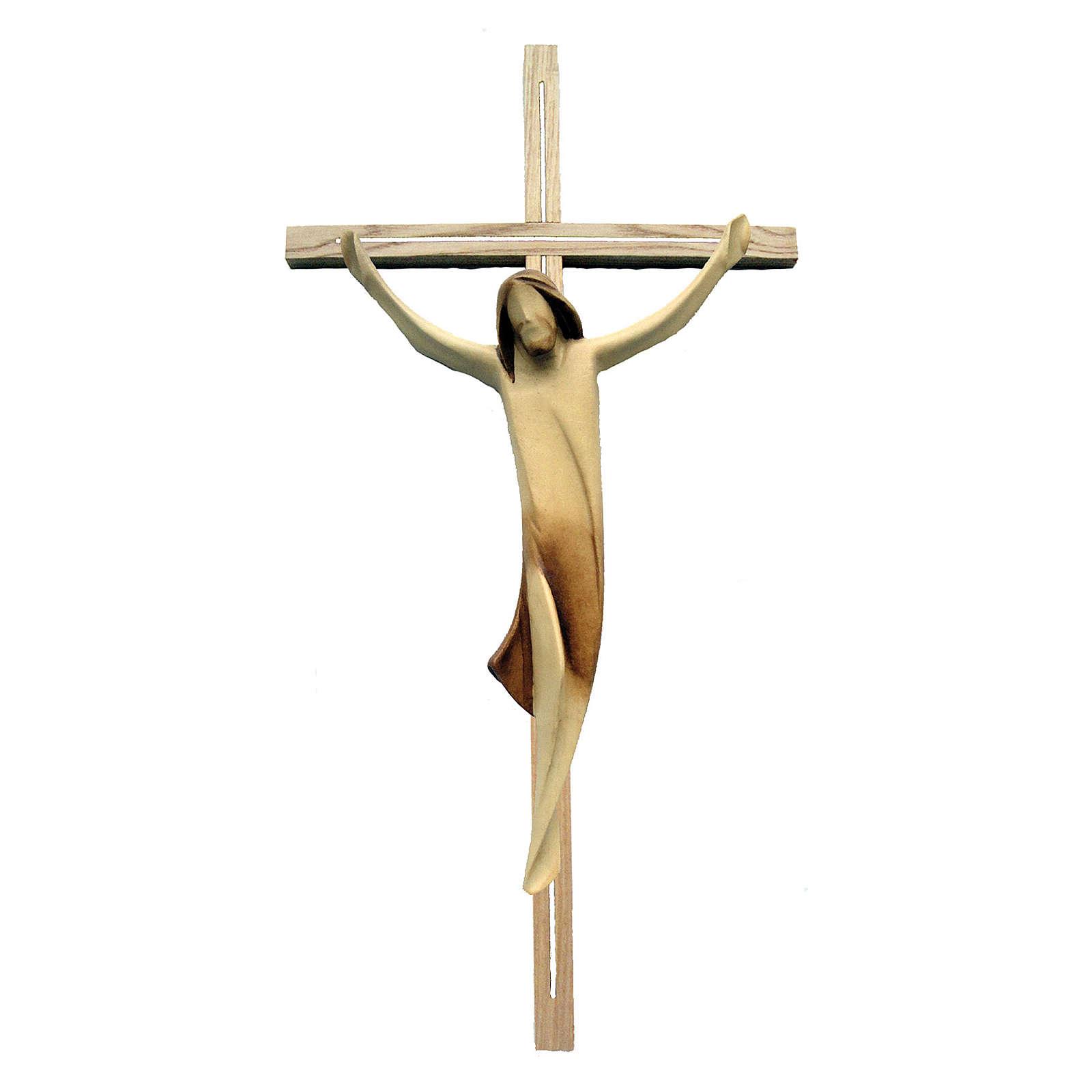 Corpo Cristo moderno legno acero su croce legno frassino 4