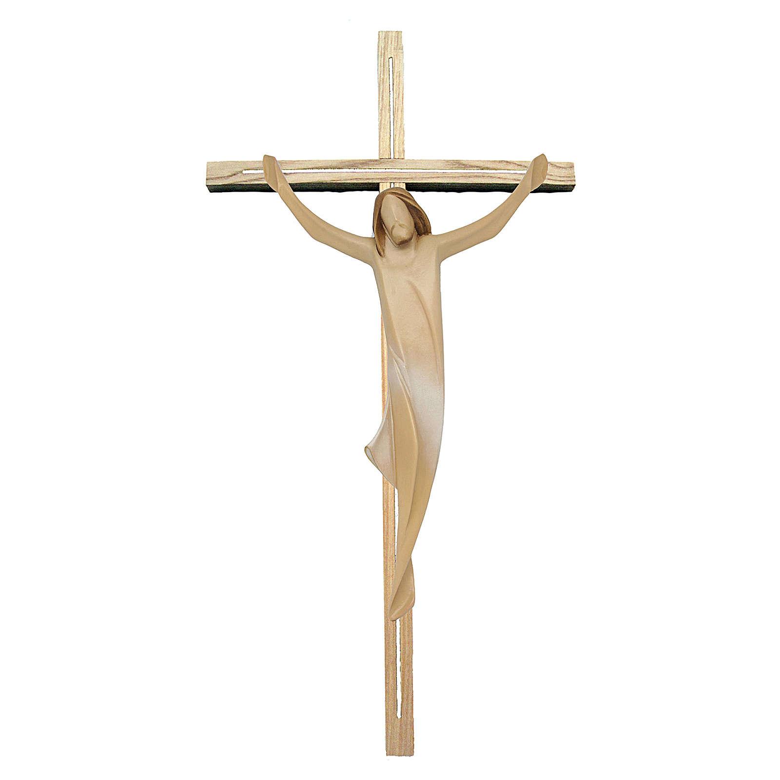Corpo di Cristo con drappo bianco su croce in legno frassino 4