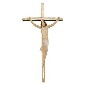 Corpo di Cristo con drappo bianco su croce in legno frassino s1
