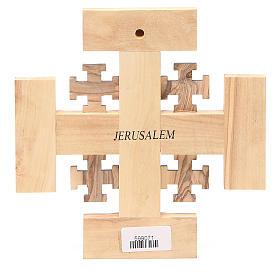 Cruz de Jerusalén de madera de olivo de la Tierrasanta con letras en relieve