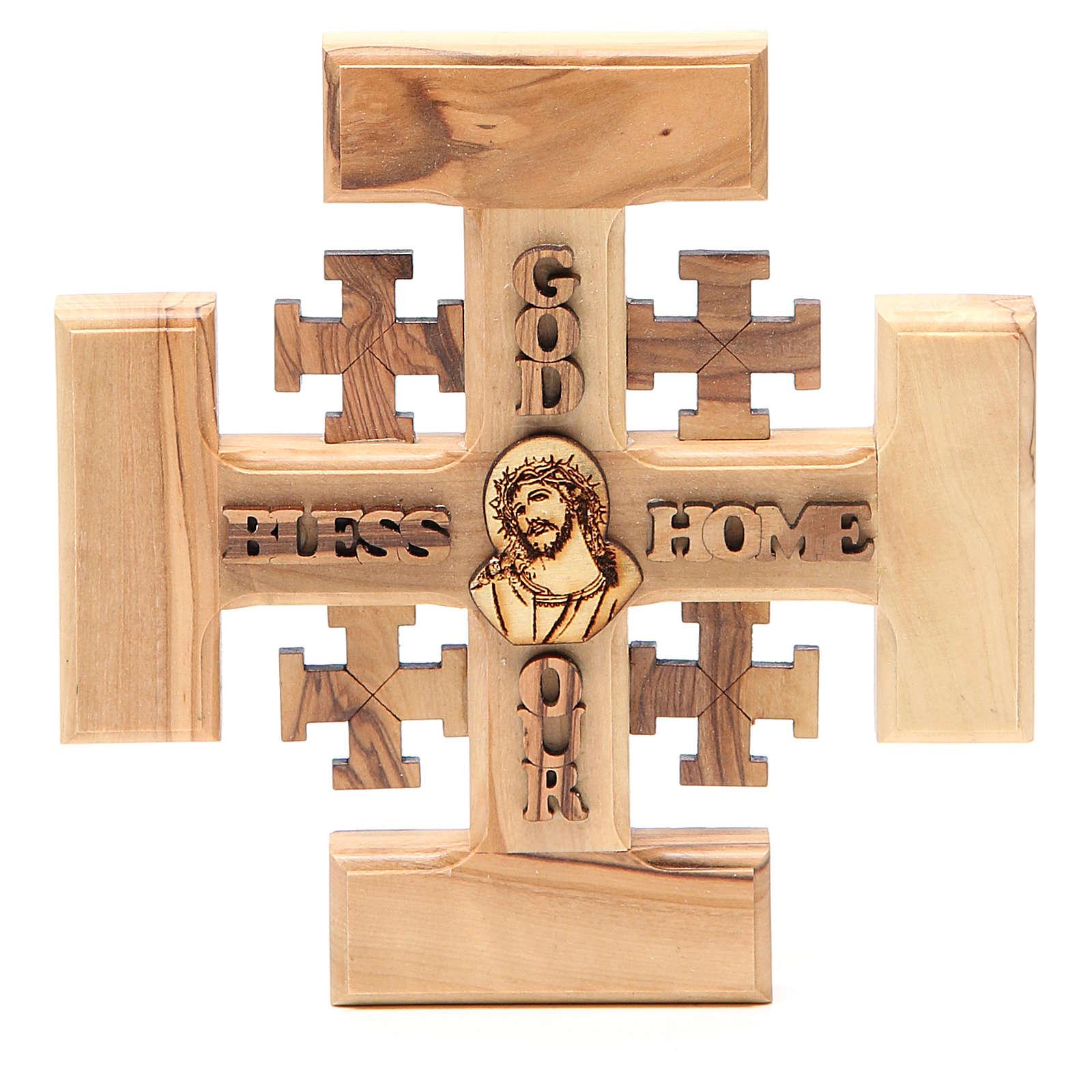Croce Jerusalem ulivo Terrasanta G.B.O.H. 15 cm 4