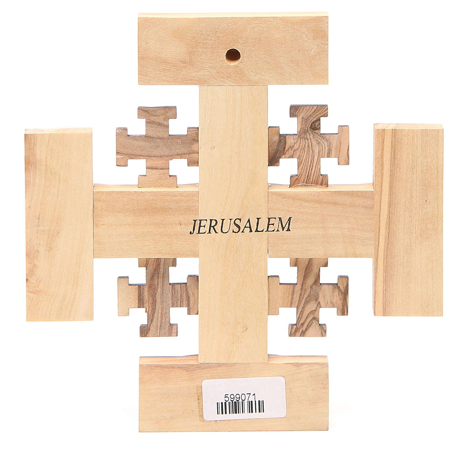 Cross Jerusalem olive wood from Palestine G.B.O.H. 15cm 4