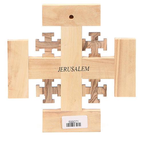 Cross Jerusalem olive wood from Palestine G.B.O.H. 15cm 2