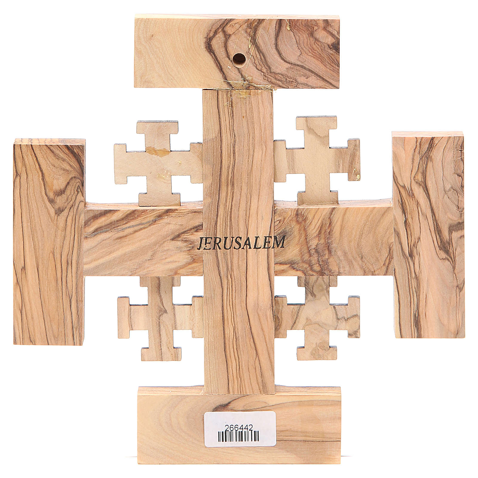 Croce Gerusalemme legno ulivo e terra Palestina 19 cm 4