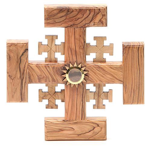 Croce Gerusalemme legno ulivo e terra Palestina 19 cm 1